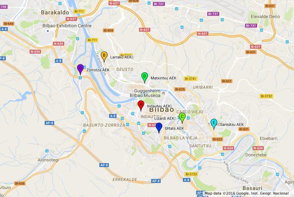 Euskaltegien mapa